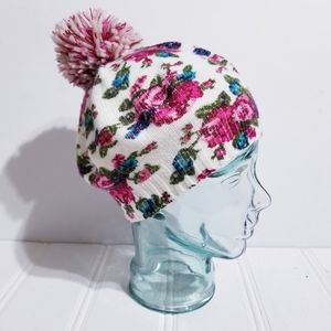 Floral Pom Pom Beenie Hat by Claire's Womens